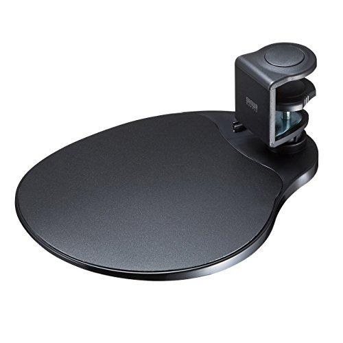 サンワダイレクト マウステーブル 360度回転 クランプ式 硬質プラスチック製 ブラック 200-MPD021BK