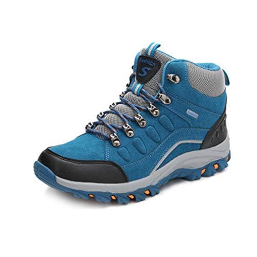Women's Waterproof Hiking Boots Outdoor Running Trail Hiker High-top Non-Slip Casual Climbing Shoes Blue