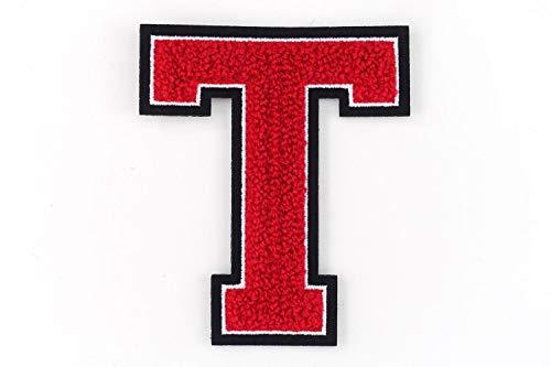 Nähgedöns.de Varsity Letter T, letras de la A a la Z de rizo, rojo, blanco y negro, 9,5 cm de alto