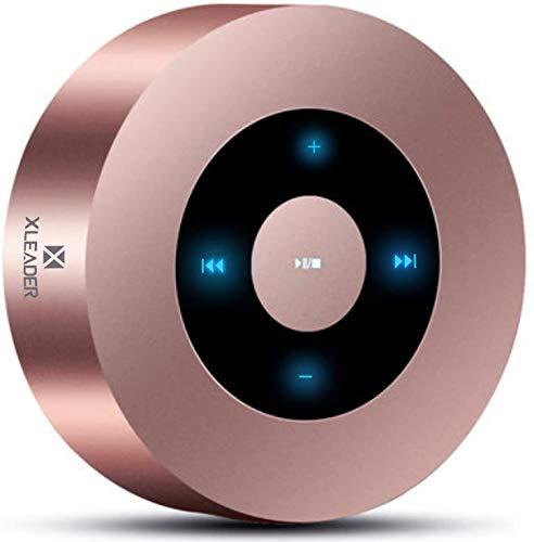 XLEADER SoundAngel A8(3 Gen) Altavoz Bluetooth Táctil de 5W con Estuche Impermeable IPX7, 15H música Sonido de Cristal, Mini Altavoces Portátil Bluetooth Premium para iPhone iPad Regalo Ducha oro rosa