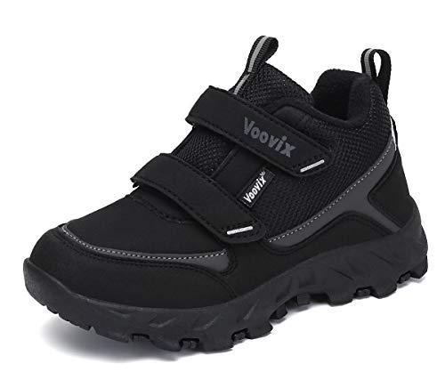 Voovix Enfant Antidérapant Chaussure de Marche Garçon Fille Chaussures Chaudes Randonnée Noir Gris 31