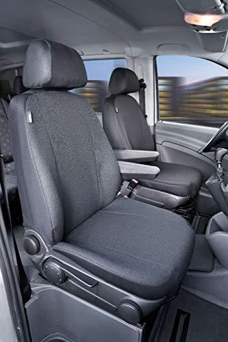 Walser 10505 Autoschonbezug Transporter Passform, Stoff Sitzbezug anthrazit kompatibel mit Mercedes-Benz Vito/Viano, 2 Einzelsitze für Armlehne innen