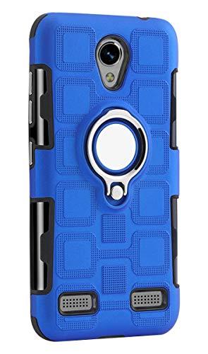 Funda para ZTE Blade A520, YINCANG Hybrid PC+funda de silicona TPU suave con soporte de anillo giratorio de 360° y placa de metal con ventosa magnética para ZTE Blade A520 5 pulgadas, azul