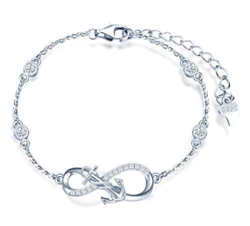 MicLee Damen Einfach Armband Zirkonia 925 Sterling Silber Allergenfrei Anker Unendlichkeit Zeichen Armreif Armkette mit Geschenkbeutel Super Geschenk für Mutter Freundin