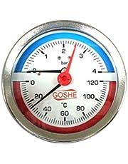 """Termomanómetro de 80 mm, medidor de temperatura y presión hasta 120 C y 4 bar BSP trasero (21 mm 1/2"""")"""
