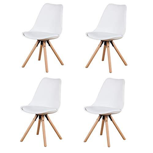 Herbalady Juego de sillas de estilo nórdico 4/6, tapizadas y patas de madera natural, utilizado en varias ocasiones, multicolor opcional (blanco, 4)