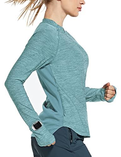 BALEAF Women's Quick Dry Shirts Long Sleeve for Running Hiking Workout UPF50+ SPF Lightweight Pullover Light Blue Size M