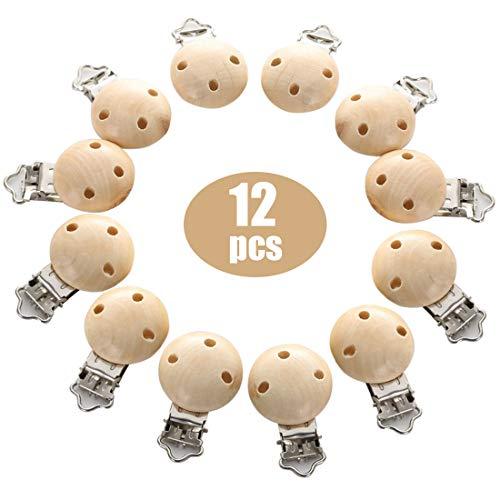 O-Kinee 12 Stücke Schnullerclips,Holz schadstofffrei Nuckelclip Baby Clip Set,Schnullerketten Clips Schnuller Halter Baby Beißring Dummy Nippel Halter für Baby und Kind