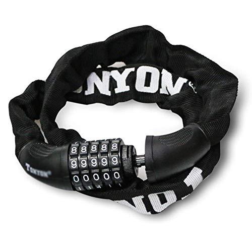 MDZZ Bike Lock Alloy Lock Core | 5-stelliges Kombinationsschloss | Sicherheitskettenschloss Bike Security Heavy Duty Diebstahlsicherungen (Color : Black)
