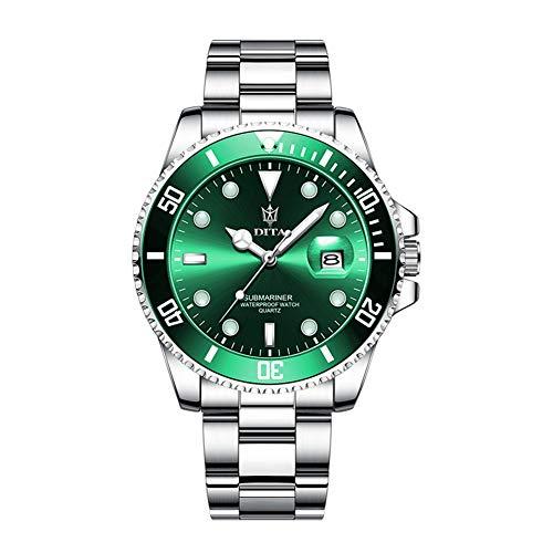LEDM Reloj para Hombre Reloj de Cuarzo analógico de Acero Inoxidable Resistente al Agua Reloj Deportivo con Calendario,C