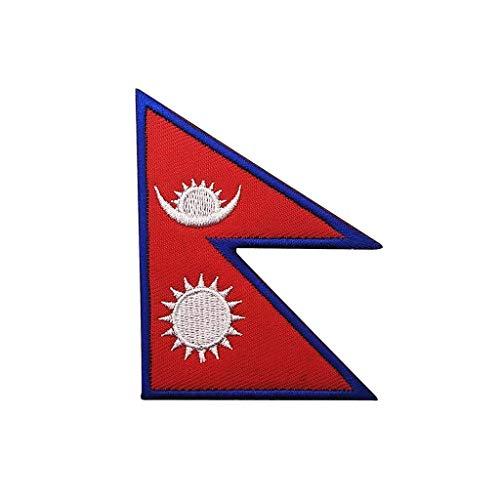 ShowPlus Aufnäher mit Nepal-Flagge, Militär, bestickt, taktischer Aufnäher (Nepal)