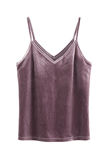 SheIn Women's Casual Basic Strappy Velvet V Neck Cami Tank Top Large Purple