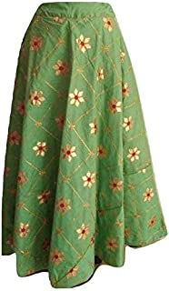 SNEH Women's Silk Heavy Gota Work Skirt (Green,Free Size)