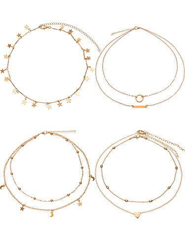 BBTO 4 Pieces Layered Pendant Choker Necklace Gold Layering Chain Choker for Women Girls (Style A)