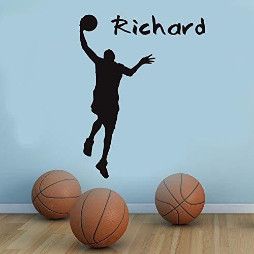Teenagerkamer van de jongen zelfklevende sport-silhouet van basketbalspeler zelfklevende muursticker vinyl met naam van de decoratie van de tienerkamer