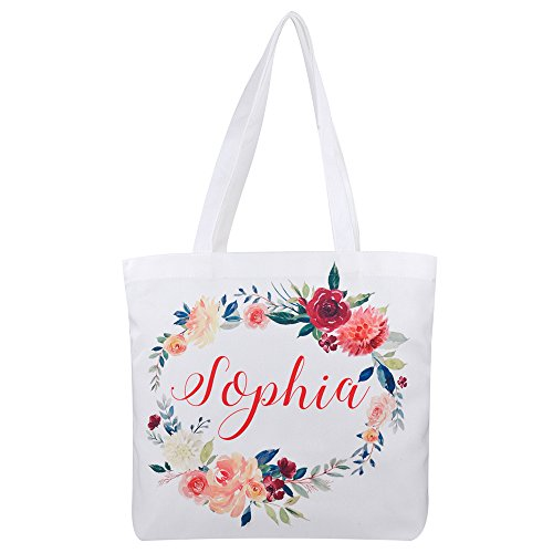 Personalized 16oz Tote Bag, Custom Bridal Party Bag, Bridesmaid Gift Bag, Reusable Canvas Tote Bag, Mother Gift (Print on 1 side only)