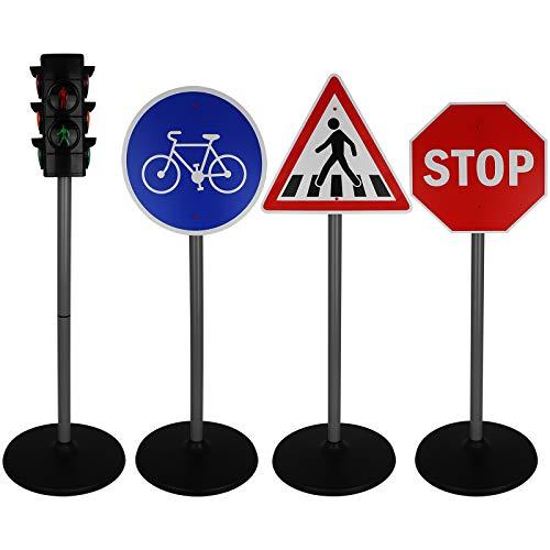 TW24 Verkehrsampel mit Straßenschilder Set Kinder Spielzeug Verkehrszeichen Spielampel Verkehrsschilder Ampelanlage