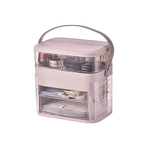 Boîte Cosmétique De Stockage, Bureau Transparent Antipoussière Avec Le Support Acrylique De Bijoux De Couverture,Rose