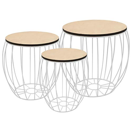 Nesting Tables Set of 3 Iron Coffee Tables and Removable Wooden Trays Side Tables Coffee Tables for Bedroom Living Room Office Storage Boxes White