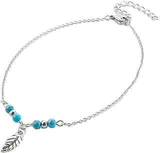 Cavigliera con perle turchesi e piume, in acciaio inox