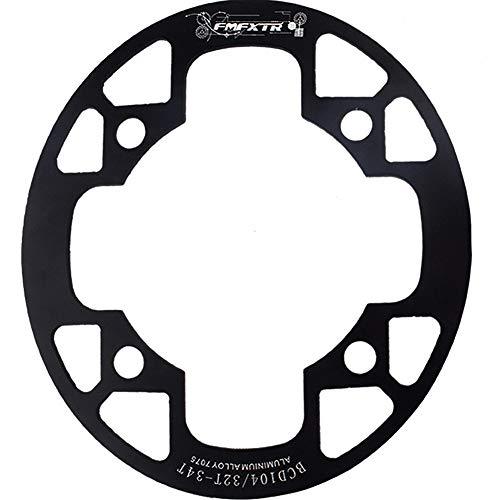 Adoolla MTB Fahrrad-Kettenblatt-Schutzabdeckung 32T/34T 36T/38T/40T/42T Fahrrad Kettenradgarnitur Schutz Kettenradschutz 104bcd ovale Schutzplatte 36-38T schwarz