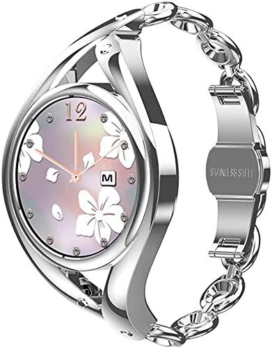 X&Z-XAOY Precioso Reloj Inteligente Ultrafino con Pulsera para Mujeres Reloj Inteligente Rastreador De Actividad De Salud Wristwatc Reloj Rastreador De Ejercicios (Color : Silver)