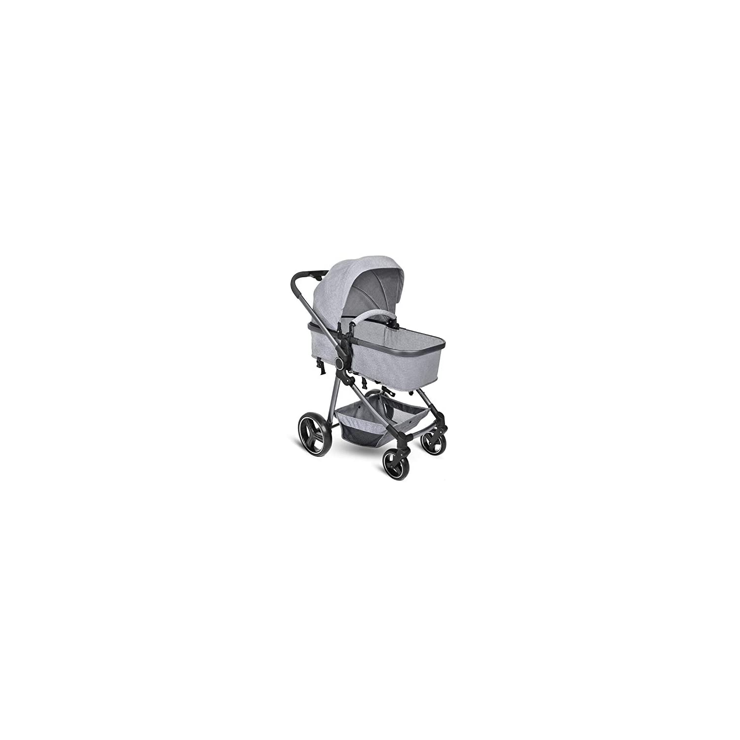 B BAIJIAWEI Convertible Stroller Bassinet – Baby Bassinet Stroller – Newborn Carriage Stroller – Lightweight Reclining Stroller with Adjustable Canopy, Reversible Seat, Lockable Rear Wheels