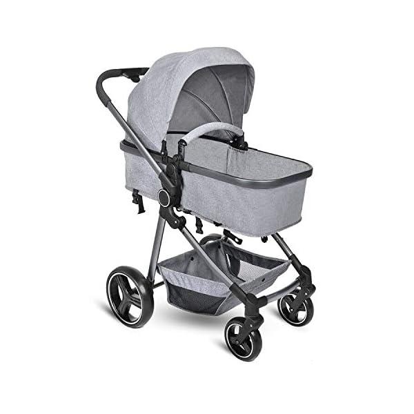 B BAIJIAWEI Convertible Stroller Bassinet – Baby Bassinet Stroller – Newborn Carriage Stroller – Lightweight Reclining Stroller with Adjustable Canopy, Reversible Seat, Lockable Rear Wheels