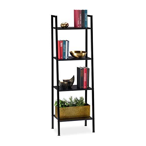 Relaxdays Standregal, modernes Leiterregal mit 4 Ablagen, für Pflanzen, Bücher & Deko, HBT: 136 x...