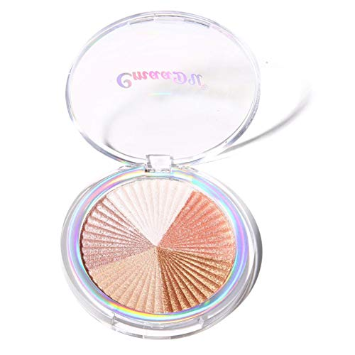 Allbestaye 3 Farben Baked Highlighter Palette Makeup Highlight Glow Bronzer Face Contour Powder Illuminator
