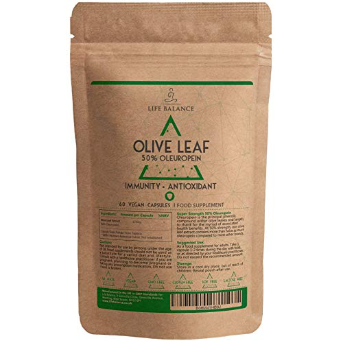 Olive Leaf Extract Capsules - 50% Oleuropein - 525mg - Mediterranean Source - Vegan - UK Made - No Additives - GMP - Pullulan (60 Capsule Pouch)