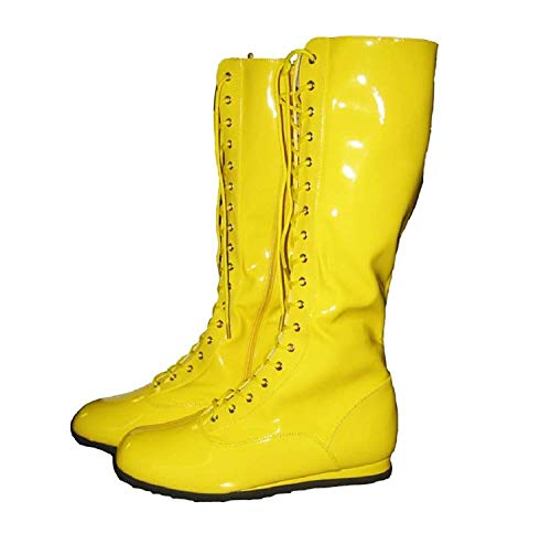 Pro Wrestling Costume Boots (Small, Yellow)
