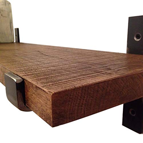 WWZWJ Zwevende plank Wandplank Massief Hout IJzer Kunst Een woord Partitie 2 cm Dikke Eenvoudige Boekenplank Keuken Opslagruimte Woonkamer Decoratie