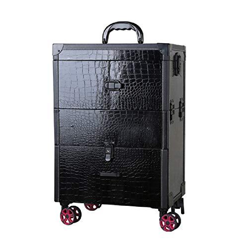 Trousse à maquillage, grand espace, vanité cosmétique, chariot de beauté à roulettes, verrouillable, organisateur de rangement pour valise, boîte (motif en crocodile, noir)