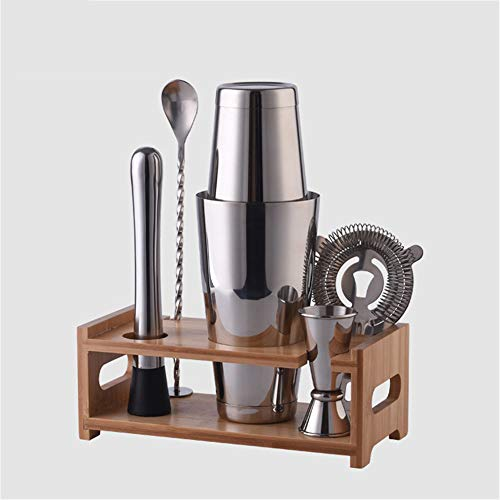 cocktail shaker,Cocktail Edelstahl Wine Chuck Cup Mixer, Holzständer Wine Mixer Set -800ML