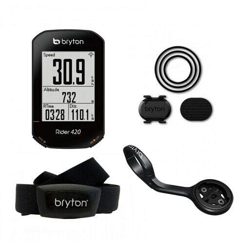 Bryton Rider 420T GPS GNSS ANT+BLE Computer and HR+Cadence Sensor and Extension Mount, TB3040