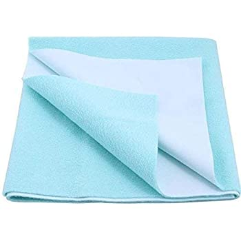 Ketsaal Small Cotton Waterproof and Reusable Mat | Bed Protector | Absorbent Dry Sheets | Water Proof Baby Sheet - Blue