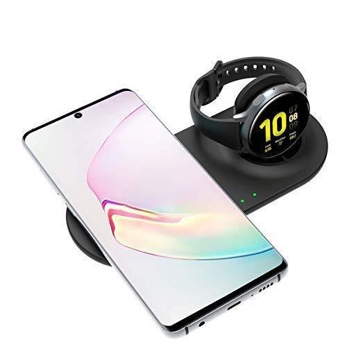 Circle Compatibile con Samsung Galaxy Orologio Wireless Portatili, Samsung Due in Uno Stand di Ricarica Veloce, universalmente Compatibile Qi telefoni e Samsung 42 mm/46 MM Orologi (Nero)