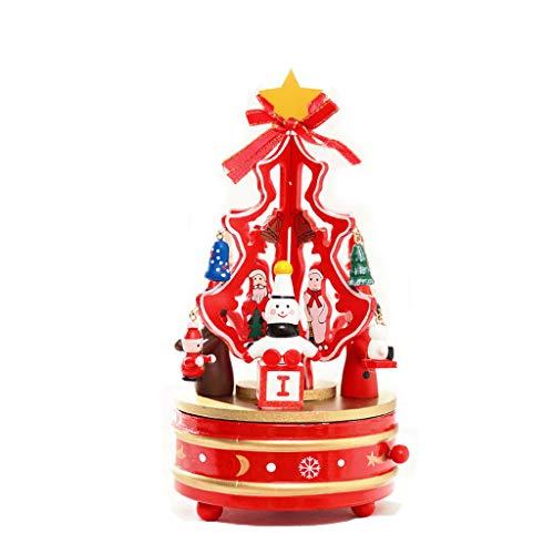 Mr.Zhang's Art Home Christmas 21 * 11 cm Holz Karussell Weihnachtsbaum rot Spieluhr Weihnachten