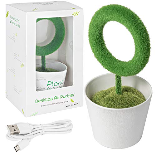 AIR PURIFIER | New and Improved Best Mini Personal Portable Plant Air Purifier | Performs Best in Bedrooms, Restrooms and Cars and other small spaces to Eliminate Cigarette and E-Cigarette Smokes | Additional design with great benefits for Home, Kitchen, Bedroom, Office, Desk and Car | Releases negative Ion into personal spaces to Eliminate Bad Odors.