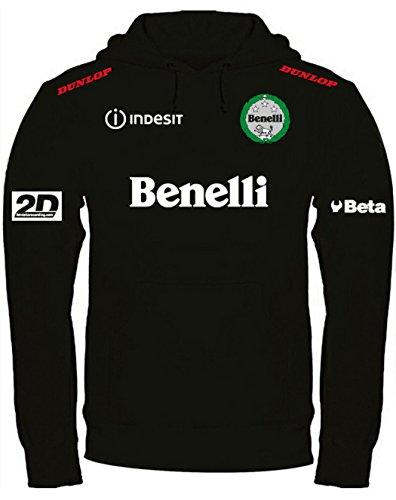 Print & Design Sweatshirt mit Kapuze Benelli Moto MotoGP Offroad Kapuzenpullover personalisierte Schwarz (l)