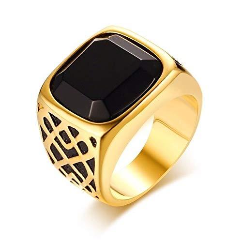 CHCO Anillo De Sello para Hombre Patrón De Tablero De Ajedrez Tono Dorado Y Corte Azul Cz Rectángulo De Acero Inoxidable Royal Jewelry 8 Style 3