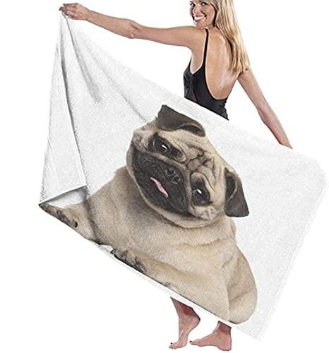 Toalla de Playa Cachorro Pug de Nueve Meses acostado Linda Mascota Animal Divertido domesticación Toalla de baño Linda Exquisita Toalla Impresa Impresa 80