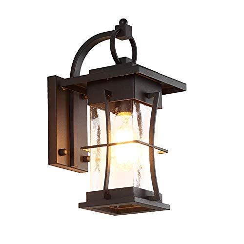 LQ Araña lámpara de pared interior y exterior, cuadrado retro Hierro forjado impermeable lámpara del jardín, pintura proceso de alta temperatura antioxidante, 220 Negro candelabro
