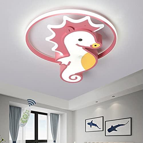 WJLL Lámpara de Techo LED Infantil Cuarto Luz de Techo Moderno Regulable con Mando a Distancia Niña Habitación Luces Iluminación de araña de diseño de Caballito de mar de Dibujos Animados,40cm28W