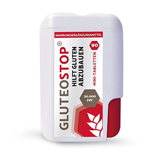 GluteoStop® - aide à décomposer le gluten - 90 mini comprimés - sensibilité au gluten - régime sans gluten - enzyme