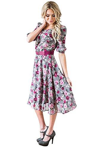 Mikarose Easton Modest Dress In Grey w/Magenta Floral Print