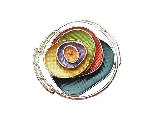 Brosche Magnetbrosche Schal Clip Bekleidung Poncho Taschen Stiefel Textilschmuck Rose Blume Silber - Multicolor