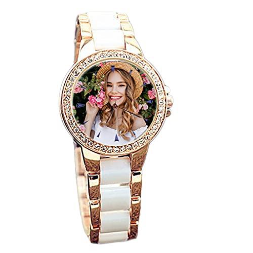 Reloj analógico Personalizado Reloj de Cuarzo Ultrafino con Texto Grabado en Foto día de la Madre(White+Gold,22cm)