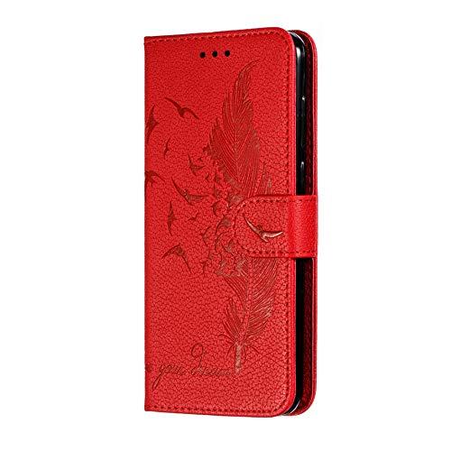 HAOYE Estuche para Xiaomi Mi 9 Lite Funda con Billetera, Diseño de Patrón de Pluma en Relieve Bastante Retro Funda de Cuero, Ultrafino Funda Protectora para Xiaomi Mi 9 Lite, Rojo